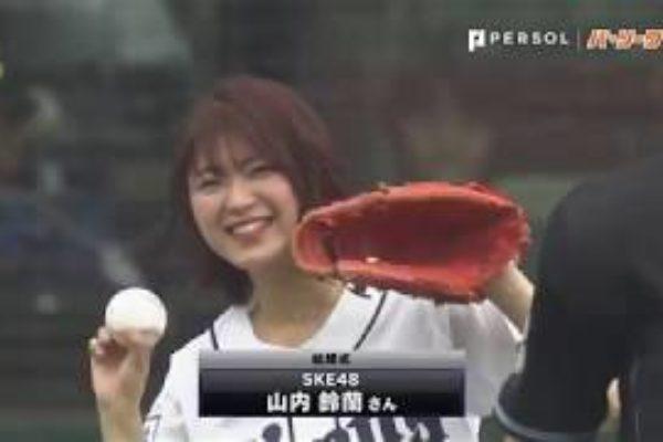 """""""捕球位置""""は見事ストライクゾーン!! SKE48の山内鈴蘭さんが始球式"""
